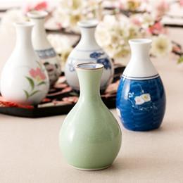 2019 faire du vin blanc Fabriqué au Japon Style Peint à la main en céramique céramiques maison hip flasques porcelaine vintage verre à boire saké vin de riz bouteilles de white spirit faire du vin blanc pas cher