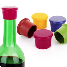 Wholesale red wine stoppers - Silicone Wine Stoppers Leak Free Wine Bottle Sealers for Red Wine and Beer Bottle Cap Kitchen Champagne Closures 5 Colors