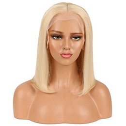 Wholesale Wigs Blonde Short - 613 Blonde Human Hair Bob Wig Lace Front Human Hair Wigs with Baby Hair Short Glueless Full Lace Wigs for Black Women