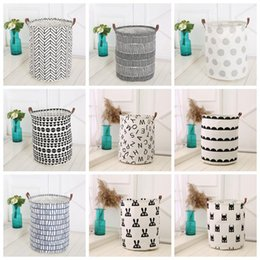 Wholesale Wholesale Toy Bins - Ins Storage Baskets Bins Kids Room Toys Storage Bags Bucket Clothing Organization Canvas Laundry Bag 18 Styles OOA4410