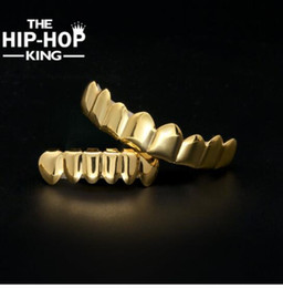 Wholesale Vampire Top - Hip Hop Gold Teeth Grills Top&Bottom Teeth Grills Dental Vampire Teeth Caps Mouth Halloween Party Body Jewelry