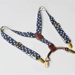 Wholesale Stars Suspender - 2.5cm quality suspender for kids dark blue jacquard star braces toddler elastic suspenders with genuine leather tabs Unisex
