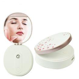 Humidificateurs de puissance en Ligne-Multifonction USB Rechargeable Facial Steamer Facial Pulvérisation UV Maquillage Mirror Power Bank Portable Humidificateur Soins de La Peau