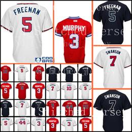 Wholesale polyester baseball shorts - 44 Hank Aaron 10 Chipper Jones Jersey Men 5 Freddie Freeman 3 Dale Murphy 7 Dansby Swanson stitched Baseball Jerseys