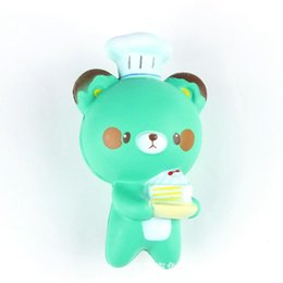 Wholesale Wholesale Cakes Pastries - Squishy Jumbo Panda 14CM Cell Phone Strap Chef Pastry Bear Squishy Bread Slow Rising Toy Cartoon Cake Bun With Fragrant kd