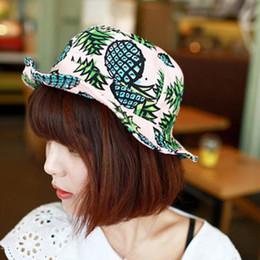 aee693e054249 summer bucket hats Canada - Women Pineapple Print fishing Bucket Hat  Folding Sun Hat Fisherman Cap