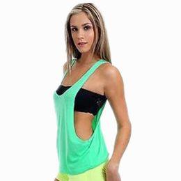 Wholesale Drape Tank Top - 2018 Hot Women's Sexy Drape Tank Top With Open Sides Neon Colors Plain Shirt Cotton Activewear