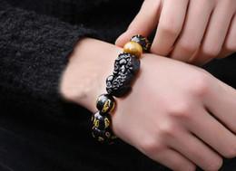 2019 silber skorpion armband Natürliche Obsidian Skorpion Armband Herren Dame Glücklichen Transfer Sechs Worte Mantra Perlen Jahr 12mm rabatt silber skorpion armband