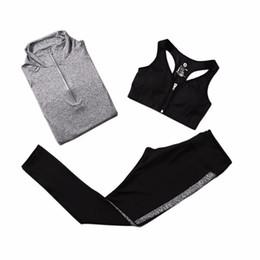 Wholesale Yoga Jacket Xl - Wholesale- 3Pcs Quick Dry Running Sets Absorb Sweat Gym Fitness Sports Bra & Pants & Jacket Sport Yoga Set Suit Tracksuit 5 Colors
