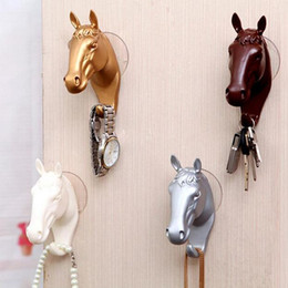 Wholesale Small Wall Hooks - Decorative Wall Hook for Home Furnishing Modern Small Horse Hooks Resin Wall Jewelry Keys Hangers Rack Creative GA91