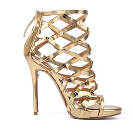 Wholesale High Heels Night Club - Golden Hollowed Out Fish Mouth Sandals Sexy European and American High Heels for Night Club party 2018 New Wedding Shoes