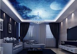 Wholesale Full Modern Kitchen - 3d stereoscopic wallpaper Full Moon Night Fantasy Sky Ceiling Ceiling Fresco kitchen wall paper