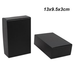 Caja de regalo de embalaje negro online-30 PCS 13x9.5x3 cm Black Kraft Paper Packaging Boxes for Jewelry Accessory Craft Paper Cookies Food Storage Packing Boxes for Birthday Gifts