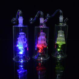 "Bongos led on-line-Bongos De Vidro LED Sailboat Water Pipe 5 ""polegadas Durable Oil Rigs Inline Martelo Perc Bubblers fumar Hookahs Dab Rigs com Multi-cores"