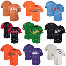 Техасский бейсбол онлайн-Мужчины Теннесси Волонтеры Ole Miss Rebels Джерси Орегон Дакс штат Орегон TCU Рогатые Лягушки Texas Longhorns бейсбол трикотажные изделия
