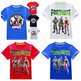 Wholesale girls 14 years clothes - 7 colors Fortnite T Shirts 3~14 years 100%Cotton Cartoon Children's clothing Casual Summer Tops Boys Girls T Shirt tees MMA322 15pcs