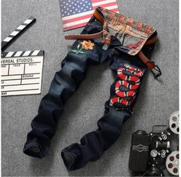 Wholesale Embroidery Twill - Wholesale- Brand Designer Mens Jogger Jeans With Embroidery Slim Fit Washed Denim Pants For Male Snake And Flower Patchwork Jean Trousers