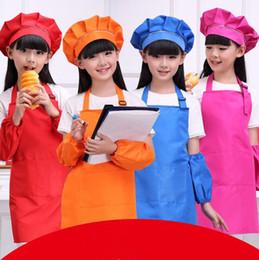 Wholesale Children Cooking Sets - 9 Colors Solid Aprons Kids Apron Pocket Craft Cooking Baking Art Painting Kids Kitchen Dining Bib Children Aprons 4pcs set CCA9817 100set
