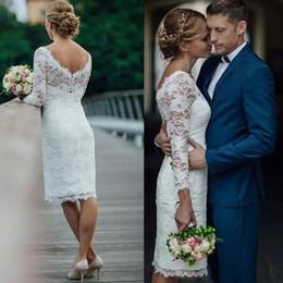 Verão 2019 curto lace vestidos de casamento na altura do joelho simples jóia neck mangas compridas branco marfim mini vestidos de noiva bainha vestidos de noiva de