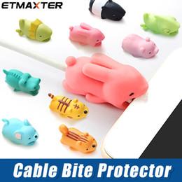 encantos del teléfono celular de cristal Rebajas ETMAXTER Cable Bite Cargador Protector de cable Tapa protectora Diseño animal lindo Cable de carga protectora para iP7 8 X