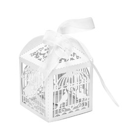 Wholesale Bird Candy Box - Wholesale- Bird Ribbon Paper Box Cage Wedding Favors Party Sweets Candy Box Gift Event Party Supplies 10PCS