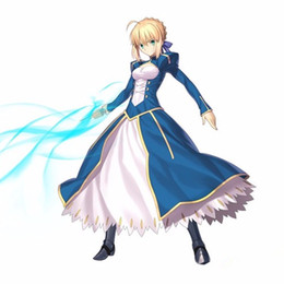 Conjunto de destino online-Anime Fate / Stay Night Saber Cosplay Disfraces UBW Fate Zero Artoria Pendragon Set completo Blue Battle Dress Disfraces de Halloween