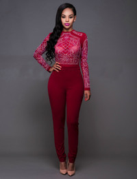 Wholesale Ladies Jumpers - Women Sequins Jumpers For Night Club Eur Fashion High Waist Mesh See Through Skinny Tracksuit Lady Bodycon Tracksuit