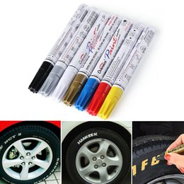 Wholesale Graffiti Marker Pens - Colorful Waterproof Pen Car Tyre Tire Tread CD Metal Permanent Paint markers Graffiti Oily Marker Pen Car Styling