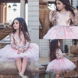 2018 Baby Pink Tulle Sequin Appliqued Flower Girl Dresses For Weddings Knee  Length Long Sleeves Kids Pageant Gowns Party Communion Dress 09ba71fa943e
