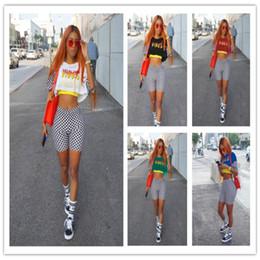 Wholesale Women Fashion Elastic Waist Shorts - 5 colors summer women VIBES print white black grid crop top short sets fashion elastic waist 2 two pieces sets suit 3XL