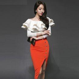 Wholesale Women S White Skirt Suits - 2018 Autumn Winter Fashion Two Piece Set Women Suits Female Long Sleeve Ruffers Shirt Tops + Split Bodycon Skirt Set