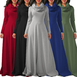 Wholesale dropped waist dresses - Simple Style Saudi Arabia Round Neck Maxi Slim Waist Long Sleeve Muslim Women Ladies Fashion Clothing Casual Tunic Dress