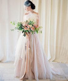 Wholesale Chiffon Asymmetrical Wedding Dress Beach - Blush A Line Wedding Dresses Asymmetrical Beach Chiffon Tulle Charming Country Wedding Bridal Gowns 2018 Fashion Simplicity Vestido De Noiva