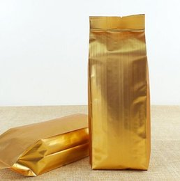 Lámina de calor dorado online-100 unids Side Gussets Gold Aluminium Foil Bag Coffee Beans Metallic Gold Bags Open Top Heat Seal Bag Bolsa de almacenamiento de té