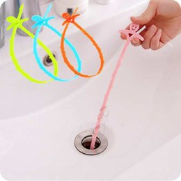 Wholesale Clean Sink Drain - Smile Hair Removal Tool Pipe Cleaner Bathroom Kitchen Sink Tubs Drain Dredger Pipe Sewer Hook Clear Clogged Drains 4Colors