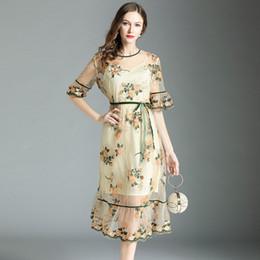 european elegante vestidos curtos Desconto Europeu de Luxo Mulheres Malha Bordado Longo Vestido de Verão Do Vintage Festa de Manga Curta O-pescoço Solto Elegante Floral Vestido Maxi