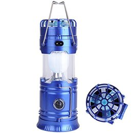 Wholesale Solar Camping Fans - Solar Lantern Flashlights USB Rechargeable LED Camping Lantern Collapsible Emergency Light Solar Powered With Fan Outdoor Hiking Lamp