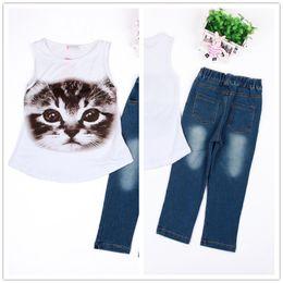 6597d7e117008a 2019 modelli di jeans delle ragazze I bambini stampa gatto abiti 2pc set  modello gatto senza