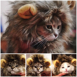 Wholesale halloween wigs costumes - Lovely Pet Costume Lions Mane Winter Warm Wig Cat Halloween Christmas Party Dress Up With Ear Pet Apparel Cat Fancy Dress MMA150