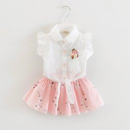 Wholesale Baby Kids Clothing Sets - Baby Girls Outfits Girl Summer Flower Clothing Short Sleeve Top +Short Skirts 2 PCS Kids Clothing Sets
