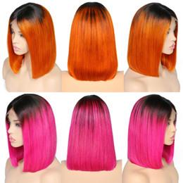Pelucas de pelo corto rosa online-Encantadora Reina Pre desplumados Corto Rosa Peluca Bob Natural Hairline Peruano Remy Pelucas Rosa Claro para Mujeres Negras