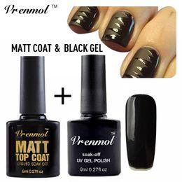 Wholesale Matte Uv Gel Nail Polish - Wholesale- Vrenmol Black Color Gel Polish + Matt Matte Top Coat Uv Nail Gel Polish for Tips Dull Finish Top Coat Gel Nail Art Set