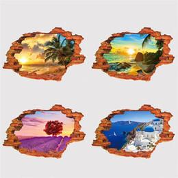 Mural del mar online-Estéreo 3D Paisaje Mural Blanco Nube Hierba Salida del sol Vista al Mar Lavanda Etiqueta de La Pared Para La Decoración Del Hogar Calcomanía 4oy BB