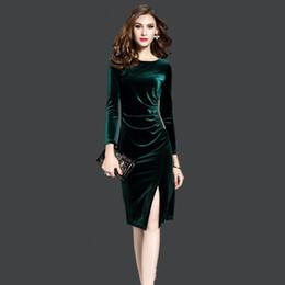 samtkleider midi Rabatt Frauen grün samt kleider plus größe elegante herbst  winter abnehmen mode lässig dress cd4e3096e1