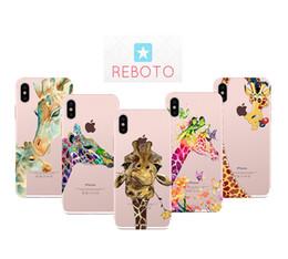 REBOTO чехол для iPhone 7 7р плюс Розовый жираф рисунок ультратонкий чехол мягкий ТПУ телефон чехол для iPhone 8 х 8 Плюс 8р 6р 6С 6 от
