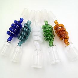 Adaptateur bleu en Ligne-Adaptateur de pipe à fumer Helix 14 mm 18 mm mâle à femelle adaptateur de bang en verre vert bleu brûleur à mazout
