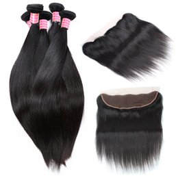 Wholesale Weave Knot - 13X4 Brazilian Full Lace Frontal with 4 Bundles 8A Brazilian Silk Straight Human Hair With Frontal Bleached Knots Virgin Curly Hair Weave
