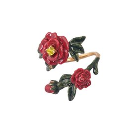 Wholesale Ladies Jewelry Rings - Original Enamel Flowers Leaf Rings For Lady Top Quality Gold Plated Brand Jewelry French Les Nereides Opening Ring Hot Sale