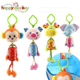 Wholesale Giraffe Crib Bedding - Baby Animal Clip Rattles Toy Kids Soft Monkey  Lion Elephant  Giraffe Plush Toy Infant Stroller Bed Crib Hanging Toys