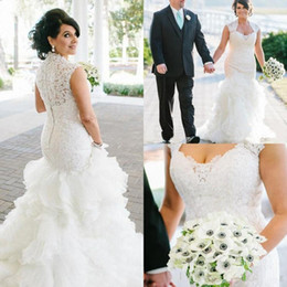 Discount sweetheart tier mermaid wedding dress - 2018 Luxury Country Wedding Dresses Mermaid Sweetheart Sweep Train Bridal Gowns With Lace Tiered Skirts Organza Wedding Gowns